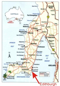 Map of Yorke Peninsula - Accommodation on beach front